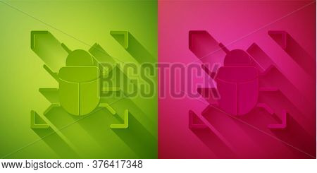 Paper Cut System Bug Concept Icon Isolated On Green And Pink Background. Code Bug Concept. Bug In Th