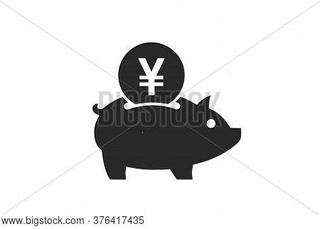 Save Japanese Yen Icon. Japanese Money Piggy Bank. Isolated Vector Banking And Finance Symbol