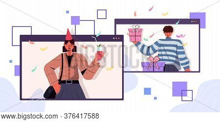 Man Woman In Festive Hats Celebrating Online Birthday Party Couple In Computer Windows Having Fun Ce