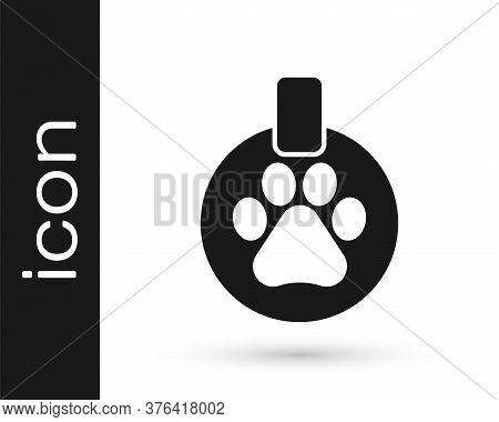 Grey Collar With Name Tag Icon Isolated On White Background. Supplies For Domestic Animal. Dog Or Ca