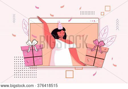 Woman Celebrating Online Birthday Party Girl In Computer Window With Wrapped Gift Boxes Celebration
