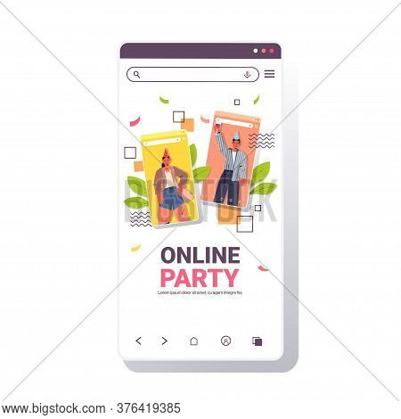 Man Woman In Festive Hats Celebrating Online Birthday Party Couple In Smartphone Screen Having Fun C