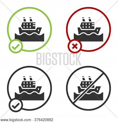 Black Cruise Ship In Ocean Icon Isolated On White Background. Cruising The World. Circle Button. Vec