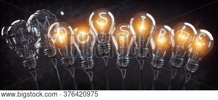 Possible impossible concept. Light bulbs in row with glowing text possible. 3d illustration