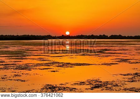 Beautiful Sunset Landscape In Danube Delta Biosphere Reserve In Romania. Beautiful Yellowish Lights