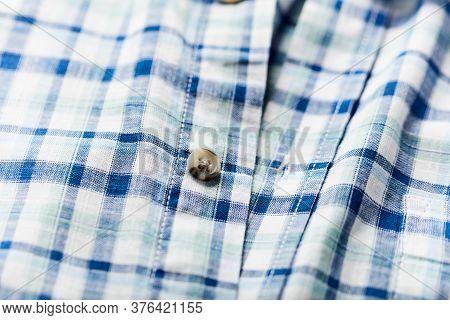 Close Up Of Men's Checkered Shirt. Fashion.