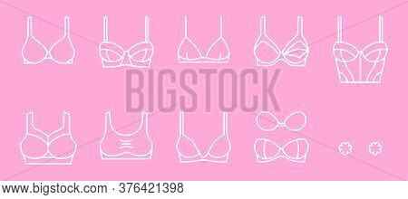 Classification Of Lingerie. Types Of Women Bras. Set Of Outline Icons For Infographic, Web, Social M
