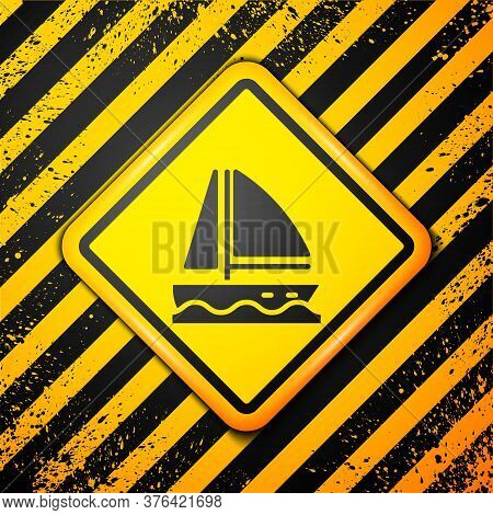 Black Yacht Sailboat Or Sailing Ship Icon Isolated On Yellow Background. Sail Boat Marine Cruise Tra
