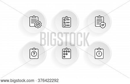 Clipboard, Checklist, Quiz Icon Set. Questionnaire And Survey. Vector On Isolated White Background.