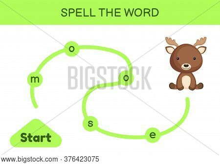 Maze For Kids. Spelling Word Game Template. Learn To Read Word Moose, Printable Worksheet. Activity