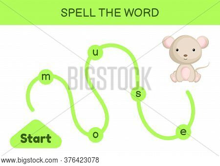 Maze For Kids. Spelling Word Game Template. Learn To Read Word Mouse, Printable Worksheet. Activity