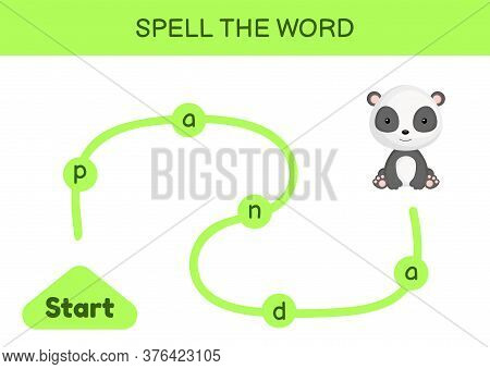 Maze For Kids. Spelling Word Game Template. Learn To Read Word Panda, Printable Worksheet. Activity