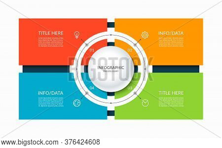 Infographic Template With A Circle And 4 Rectangular Elements. Diagram Or Chart With Four Options. C