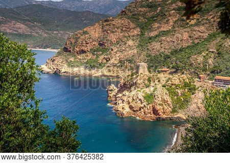 The City Of Porto And The Creeks Of Piana (calanques De Piana) In Corsica, France