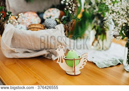 Candle In Chicken Decor On Background Of Traditional Easter Basket For Blessings In Church. Easter M