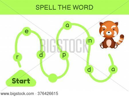 Maze For Kids. Spelling Word Game Template. Learn To Read Word Red Panda, Printable Worksheet. Activ