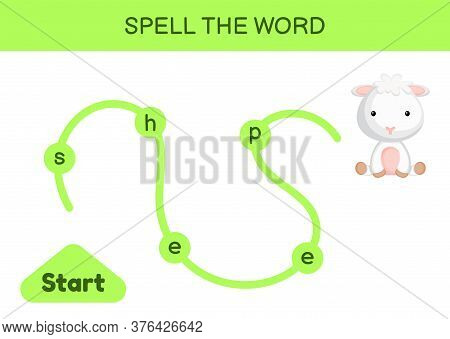 Maze For Kids. Spelling Word Game Template. Learn To Read Word Sheep, Printable Worksheet. Activity