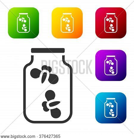 Black Fireflies Bugs In A Jar Icon Isolated On White Background. Set Icons In Color Square Buttons.
