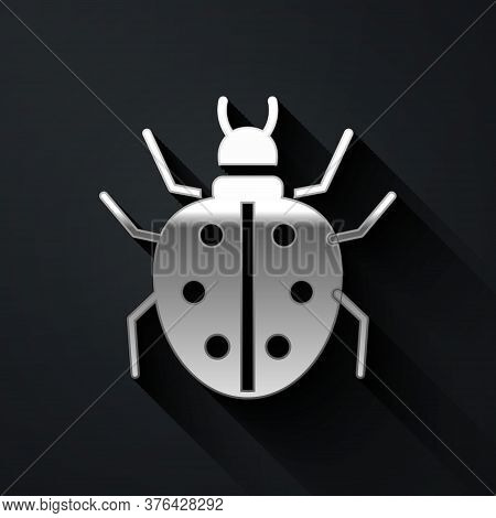Silver Mite Icon Isolated On Black Background. Long Shadow Style. Vector