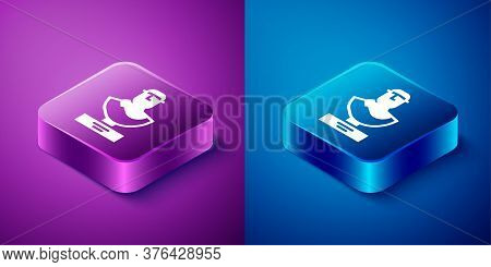 Isometric Ancient Bust Sculpture Icon Isolated On Blue And Purple Background. Square Button. Vector