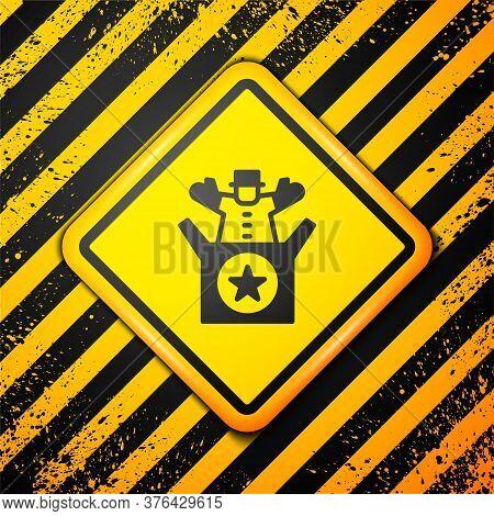 Black Jack In The Box Toy Icon Isolated On Yellow Background. Jester Out Of The Box. Warning Sign. V