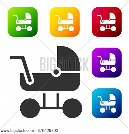 Black Baby Stroller Icon Isolated On White Background. Baby Carriage, Buggy, Pram, Stroller, Wheel.