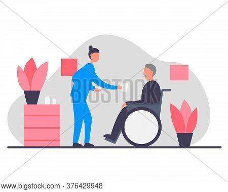 Female Nurse Caring For An Elderly Man. Home Care Concept Vector Illustration. Female Nurse In A Coz