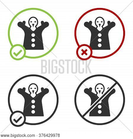 Black Toy Puppet Doll On Hand Icon Isolated On White Background. Circle Button. Vector