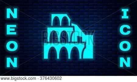 Glowing Neon Coliseum In Rome, Italy Icon Isolated On Brick Wall Background. Colosseum Sign. Symbol