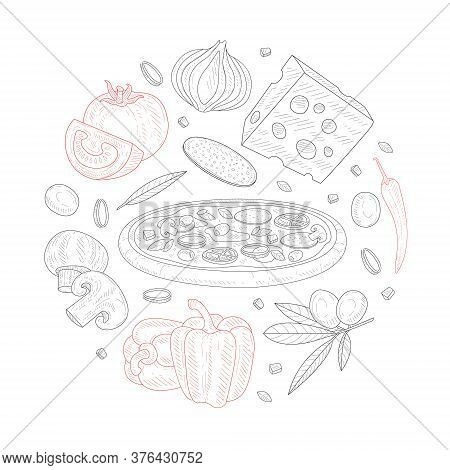 Italian Pizza Banner Template, Traditional Italian Dish Ingredients Of Round Shape Hand Drawn Vector