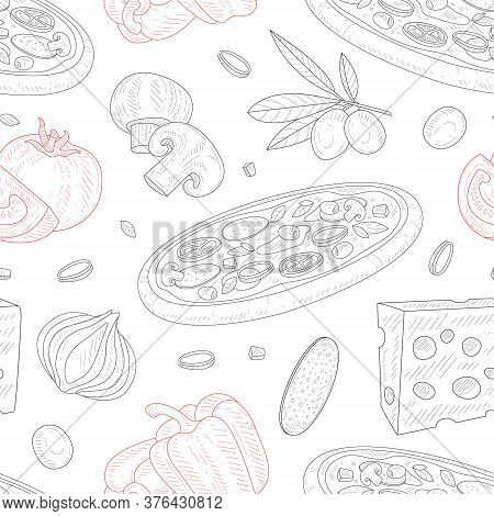 Italian Pizza, Seamless Pattern, Traditional Italian Dish Ingredients, Design Element Can Be Used Fo
