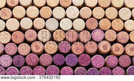 Wine Corks Background Horizontal. Pattern Of Used Wine Corks. Color Change From Red To White. Wine S