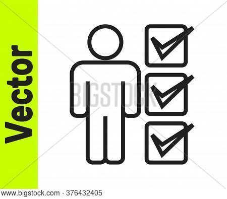 Black Line User Of Man In Business Suit Icon Isolated On White Background. Business Avatar Symbol Us