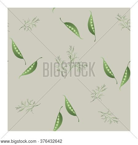 Seamless Pattern With Open Pea Pods, Peas And Dill On A Grey Background. Pattern With Peas. Vintage