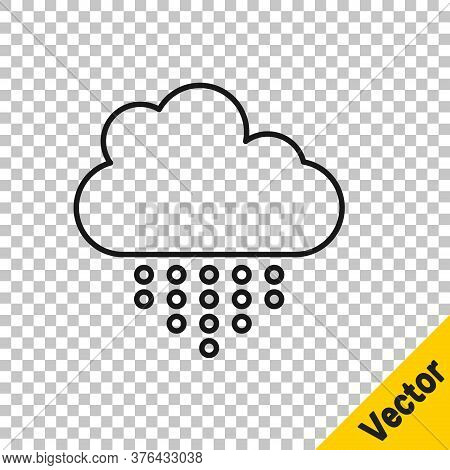 Black Line Cloud With Rain Icon Isolated On Transparent Background. Rain Cloud Precipitation With Ra