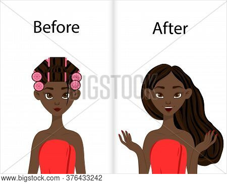 Dark-skinned Girl Before And After Styling Hair On Curlers. Cartoon Style. Vector Illustration.
