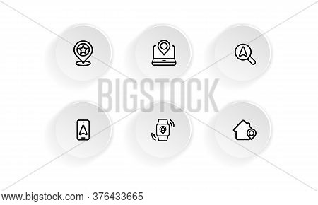 Device With Pinpoint Location Icon Set. Gps Tracking, Pin. Vector On Isolated White Background. Eps