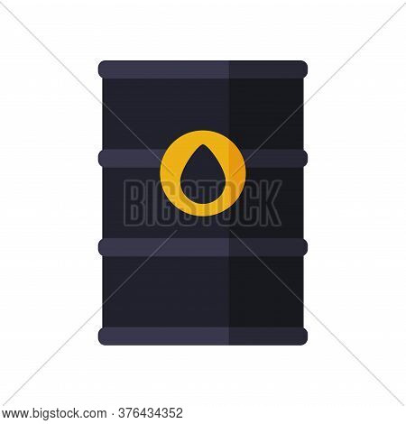 Black Oil Barrel, Gasoline And Petroleum Production Industry Flat Style Vector Illustration On White