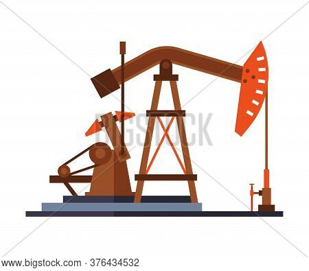 Oil Pump Jack, Gasoline And Petroleum Production Industry Flat Style Vector Illustration On White Ba