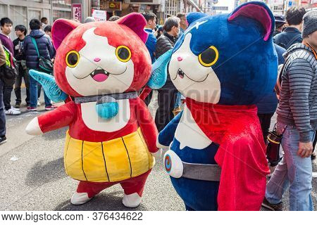 Osaka / Japan - March 18, 2018: Nipponbashi Street Festa, Colorful Cosplay And Anime Festival Held E