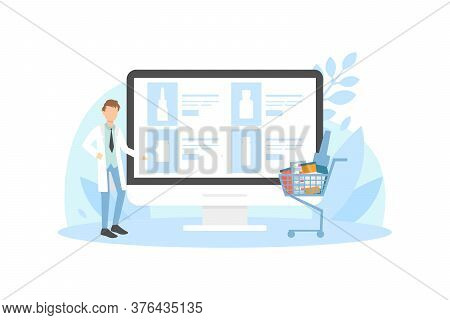 Online Purchasing Of Medicines In Pharmacy, Male Pharmacists Doctor Presenting Medications On Huge T