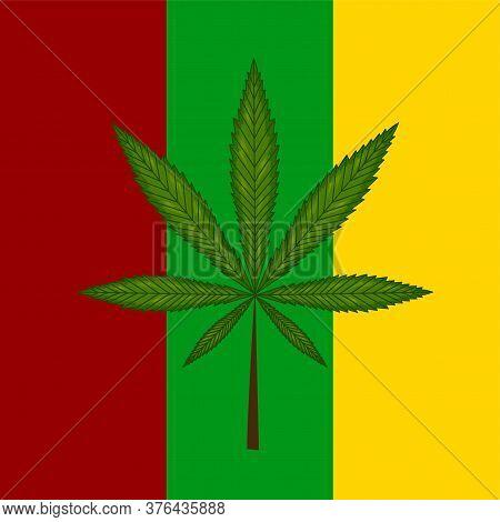 Marijuana Leaf On Reggae Flag. Vector Illustration.