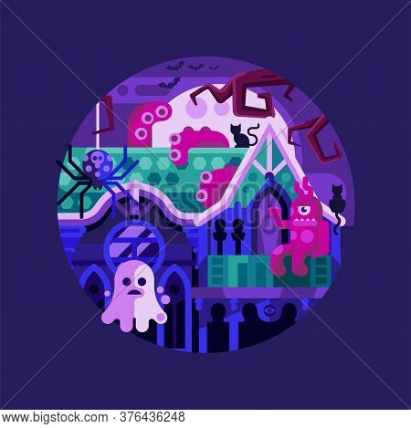 Haunted Spooky House Halloween Icon In Flat