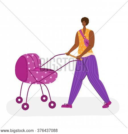 Motherhood Concept - Beautiful African American Woman Walking Outdoors With Baby Carriage. Happy Mom
