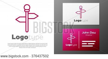 Logotype Line Road Traffic Sign. Signpost Icon Isolated On White Background. Pointer Symbol. Street