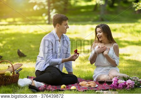 Romantic Young Guy Making Proposal To His Surprised Girlfriend On Picnic At Park