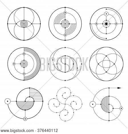 Set Of Abstract Geometric Symbols. Sacred Geometry Sign With Geometric Shapes. Isolated On White Bac