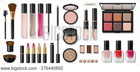 Set Of Decorative Cosmetics. Blank Template Of Containers For Face Cosmetic, Concealer, Eyeshadow, L