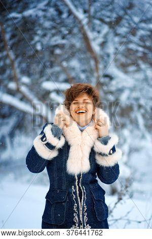 Vertical Portrait Of Joyful Winter Woman With Short Haircut In Luxury Fur Coat. Beauty Fashion Model