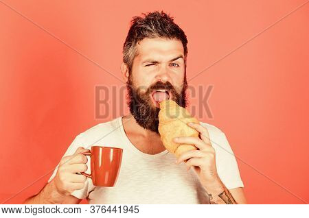 Bearded Hipster Enjoy Breakfast Drink Coffee. Morning Tradition Concept. Delicious Coffee Break. Man